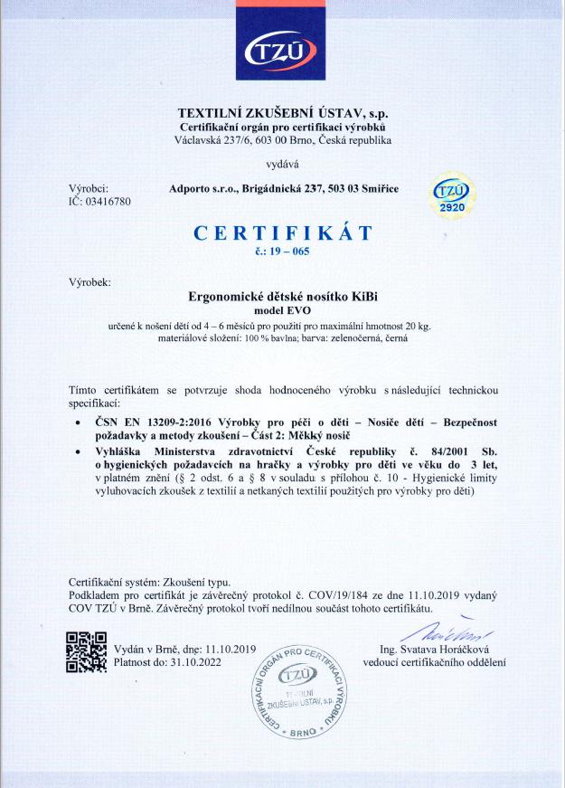 Certifikaát - KiBi EVO