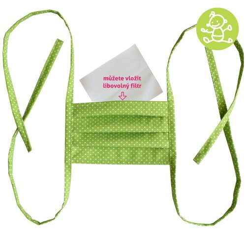 Cotton double layer mask, child - Green with white dots