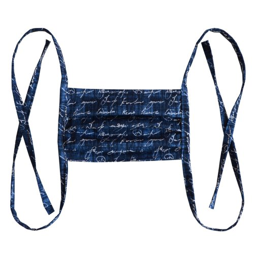Cotton double layer mask - Dark blue with text