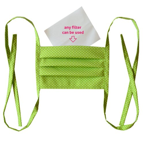 Cotton double layer mask - Green with white dots